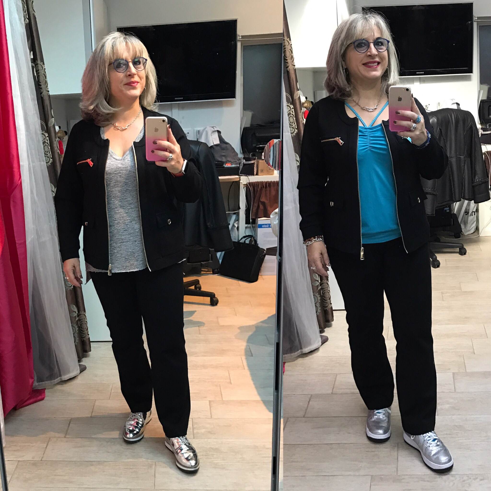 Idée look: en tailleur casual BLEU D'AZUR… et de l'argent! Chez Florina Hair