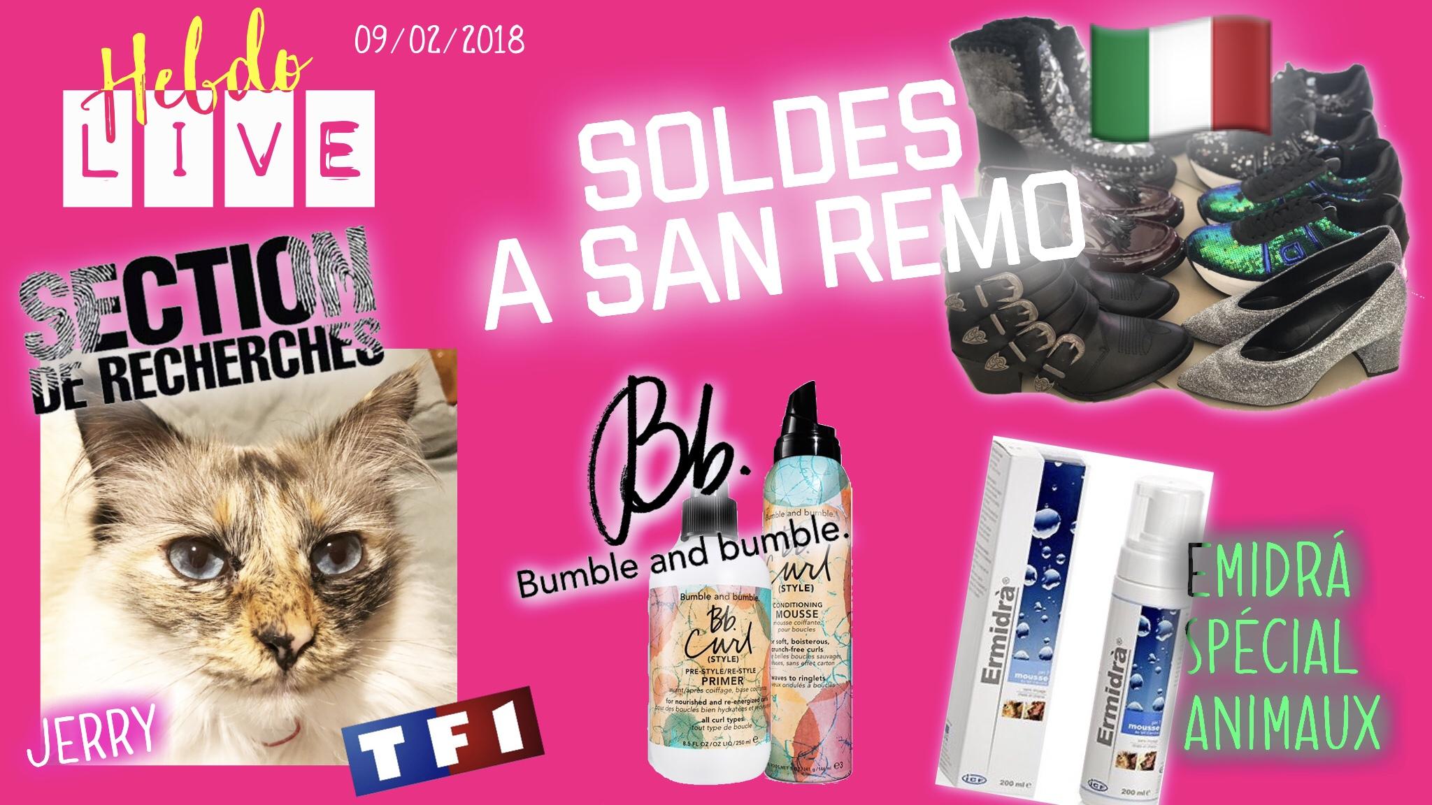 SOLDES ITALIE, CHAT DE SECTION DE RECHERCHE TF1, BLEU D'AZUR, BUMBLE AND BUMBLE, ERMIDRA